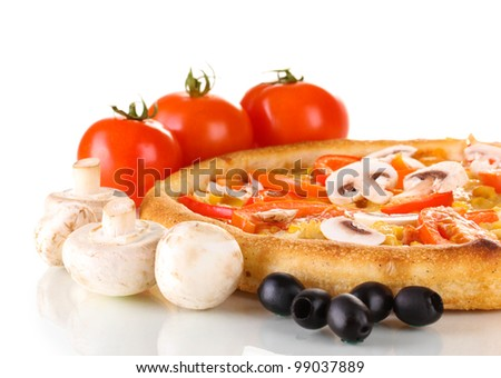 Aromatic pizza with vegetables and mushrooms close-up isolated on white