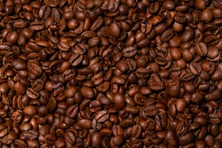 Aromatic roasted coffee beans for background