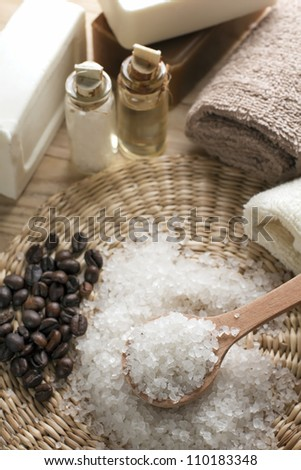 Aromatic spa coffee set with sea salt and soap