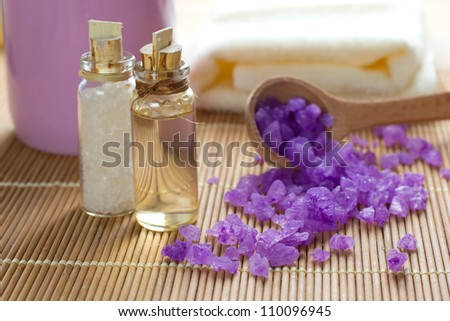 Aromatic spa set with sea salt and oil
