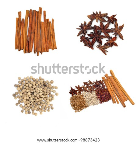 aromatic spice collection on white background