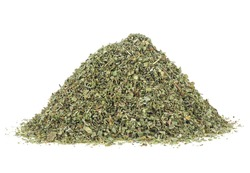 Aromatic spice - pile of dried marjoram spice isolated on a white background. Dried of marjoram leaves.