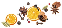 Aromatic spices collection, christmas decoration, falling igredients for mulled wine isolated on white background