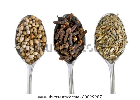 Aromatic spices on silver spoons and isolated on white background