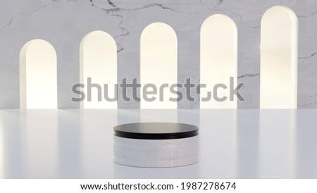 arquitetura estilo grega com marmore branco no final do dia. Foto stock ©