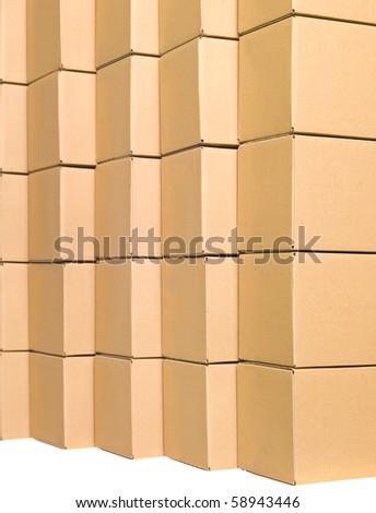 Arranged cardboard boxes