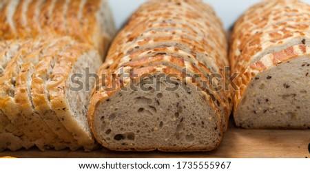arranged sliced slices of light bread Zdjęcia stock ©