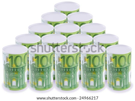 Arranged tin (can) with euro image. Isolated on white.