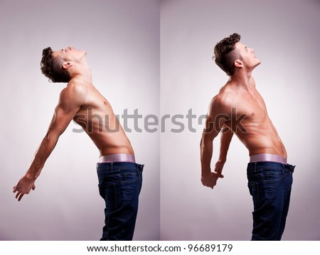 arrangement made of two artistic portraits of young topless man stretching on a gray background