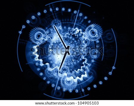 Arrangement of clock hands, gears, lights and numbers on the subject of time sensitive issues, deadlines, scheduling, temporal computational processes, digital technologies, past, present and future
