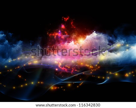 Arrangement of clouds of fractal foam and abstract lights on the subject of art, spirituality, painting, music , visual effects and creative technologies - stock photo