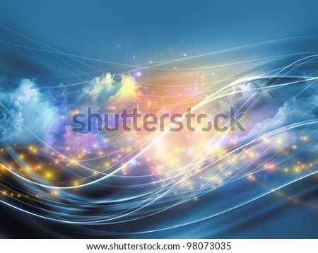 Arrangement of clouds of fractal foam and abstract lights on the subject of art, spirituality, painting, music , visual effects and creative technologies
