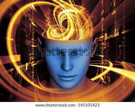 Arrangement of cutout of male head and symbolic elements on the subject of human mind, consciousness, imagination, science and creativity