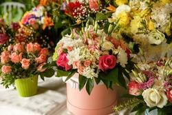 Arrangement of fresh flowers bouquets . Flower delivery
