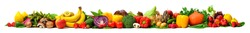 Arrangement of fruits and vegetables in many appetizing colors in a row, concept for a healthy plant-based lifestyle and fitness, super wide format ideal as a border, frame or banner