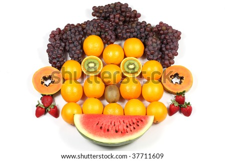 Arrangement of fruits, representing a stylized human face