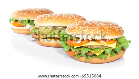 arrangement of hamburgers isolated on white
