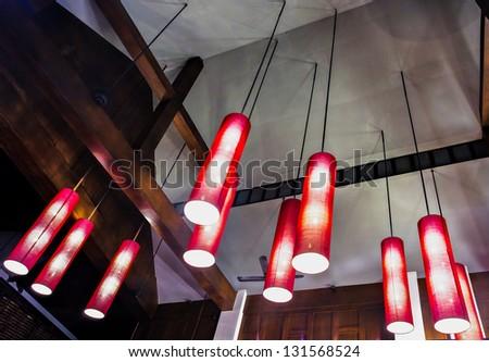 arrangement of hanging lighting ...