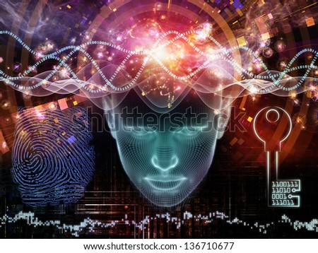 Arrangement of human head, key symbol and fractal design elements on the subject of encryption, security, digital communications, science and technology