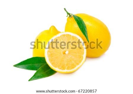 Arrangement of lemons on a white background