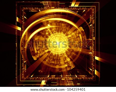 Arrangement of lights, fractal concentric grids, technological lines on the subject of science, energy, signal processing  and modern technologies