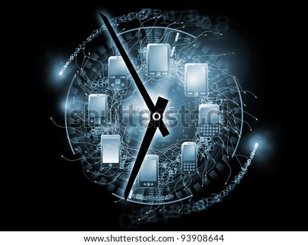 Arrangement of mobile phones, clock hands and various abstract elements on the subject of cellular communications, connectivity, personal mobile gadgets, schedules and deadlines