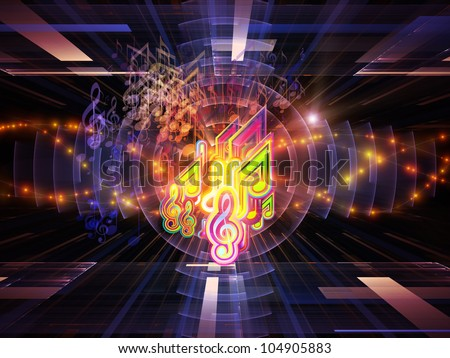 Arrangement of musical notes, perspective fractal grids, lights, wave and sine patterns on the subject of music, sound equipment and processing, audio performance and entertainment