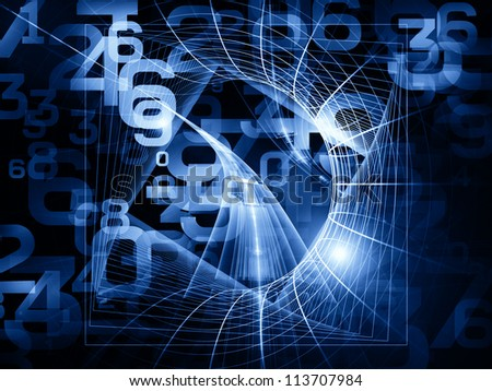 Arrangement of numbers and fractal elements on the subject of computers, science, math and modern technology