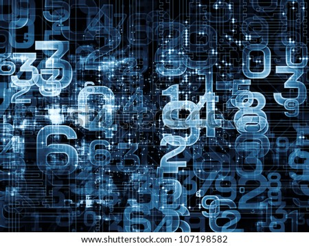 Arrangement of numbers on the subject of modern computing, digital worlds and information processing - stock photo
