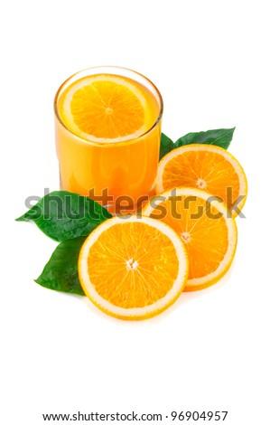 Arrangement of orange on a white background