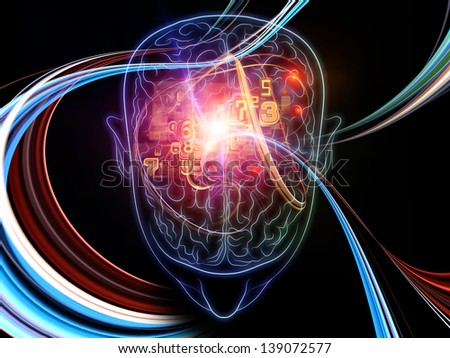 Arrangement of outlines of human brain, technological and fractal elements on the subject of artificial intelligence, computer science and future technologies
