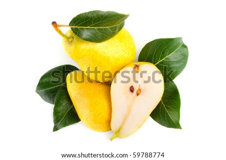 Arrangement of pears on a white background
