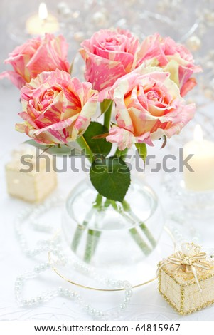 Arrangement of pink roses for holiday