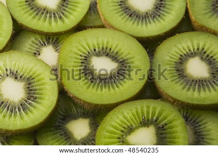 Arrangement of slices of kiwi fruit