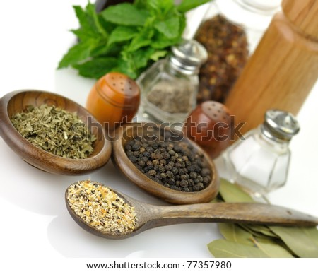 arrangement of spices on a white background