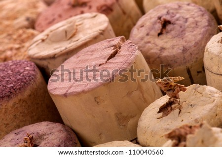 Arrangement of Various Used Wine Corks close up as background