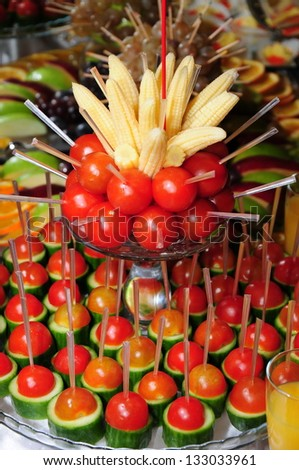 Arrangement of vegetable on party table
