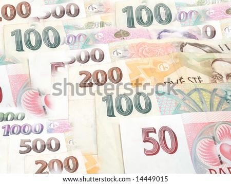 Arrangement with czech banknotes