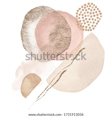 Arrangements. Blush, pink, ivory, beige watercolor Illustration and gold elements, on white background. Abstract modern print set. Logo. Wall art. Poster. Business card.