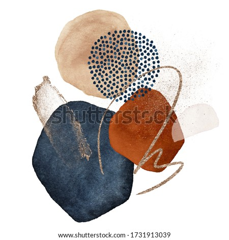 Arrangements. Terracotta, navy blue, orange, blush, pink, ivory, beige watercolor Illustration and gold elements, on white background. Abstract modern print set. Logo. Wall art. Poster. Business card.