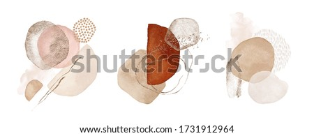 Arrangements. Terracotta, orange, blush, pink, ivory, beige watercolor Illustration and gold elements, on white background. Abstract modern print set. Logo. Wall art. Poster. Business card.