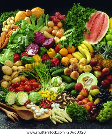 Array of fruit and vegetables