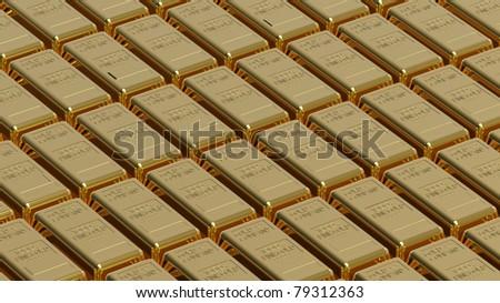Array of gold bullion 3d render money concept