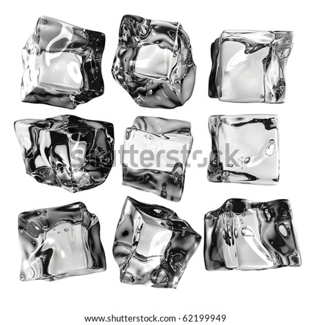 Array of 9 ice cubes assortment isolated on white