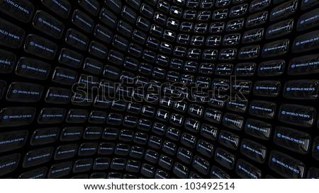 """Array of TV CRTs (displaying """"world news"""")"""