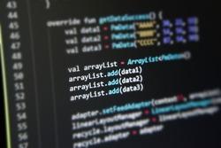 Arraylist coding from kotlin, programming language, gaussian blur effect