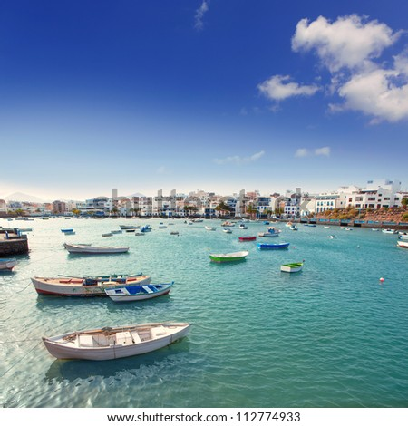 Arrecife in Lanzarote Charco de San Gines boats in Canary Islands - stock photo