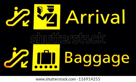 Arrival and Baggege signs at the airport