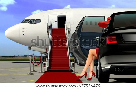 Arrival at the airport with red carpet