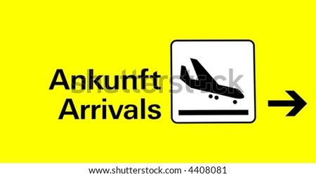 arrival board at the airport in german and english